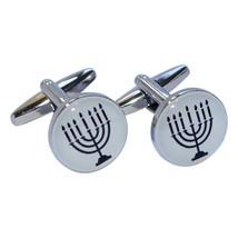 Round Menorah Design, silver Cufflinks in gift box cuff links