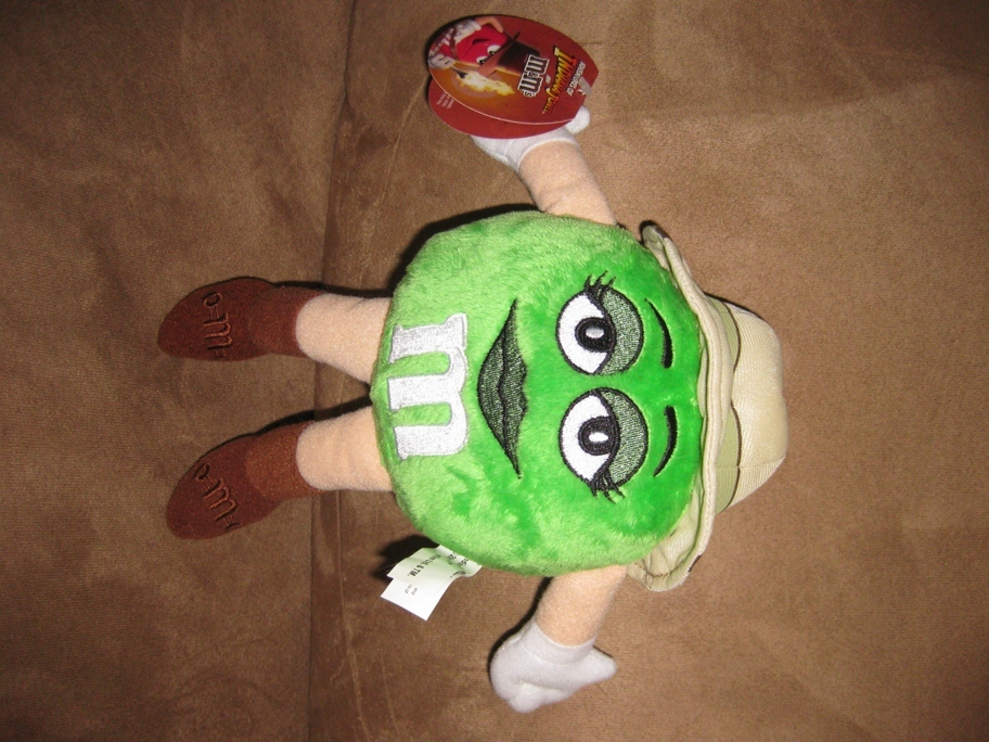 "Primary image for M&M INDIANA JONES GREEN Brand New Licensed Plush NWT New With Tags 9"" Woman"