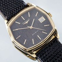18k Yellow Gold Longines Men's Automatic Watch w/ Wood Dial and Leather ... - $2,326.49