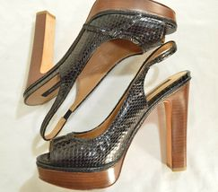 Ann Taylor shoes heels 9M platform black leather snakeskin high chic career image 6