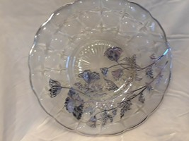 Vintage Silver Overlay Glass Tray Platter Plate With Floral Design - $29.02