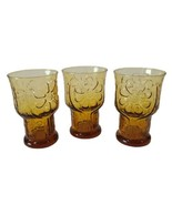 """3 VTG Libbey Glass Country Garden Amber 4"""" Juice Tumblers Glasses Daisie... - $14.84"""