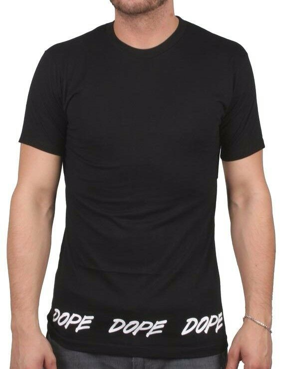 Dope Couture Tagged Hem Tee Black - White Cotton Short Sleeve Tee Print T-Shirt