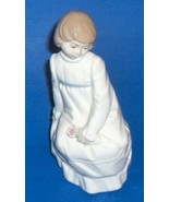 Vintage Nadal Spain Fine Porcelain Figurine Sitting Girl With A Single F... - $29.69