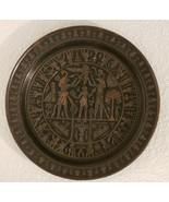 Vintage Egyptian Pharaoh Solid Heavy Brass Art Plate Egypt Africa - $163.61