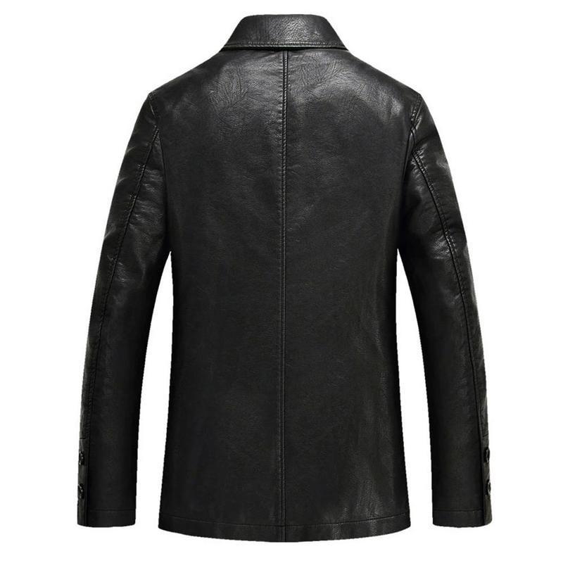 2018 Men Fashion Cool Akio Motorcycle Leather Pocket Jacket Coat Plus Size