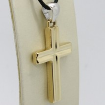 18K YELLOW & WHITE GOLD CROSS PENDANT, SQUARED, 1.6 INCHES, 4.1 CM MADE IN ITALY image 1