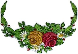Custom Romantic Rose[Rose In Half Circle] Embroidered Iron on/Sew patch ... - €10,18 EUR