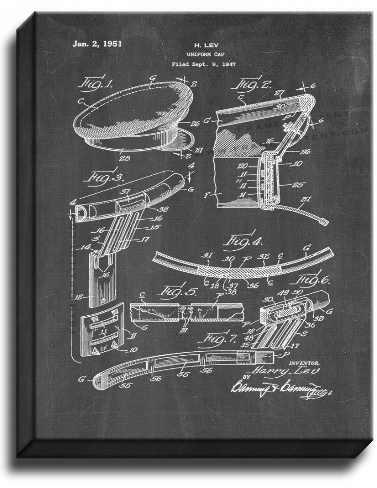 Primary image for Uniform Cap Patent Print Chalkboard on Canvas