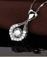 18K White Gold Filled Water Drop  CZ Pendant Necklace & Chain New - $18.00