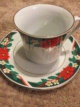 Vintage TIENSHAN Deck the Halls Poinsettia Teacup Saucer Plates Christma... - $19.34