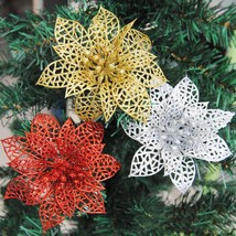Glitter Hollow Christmas 10Pcs Flowers Party Xmas Tree Wedding Decoratio... - ₨331.26 INR