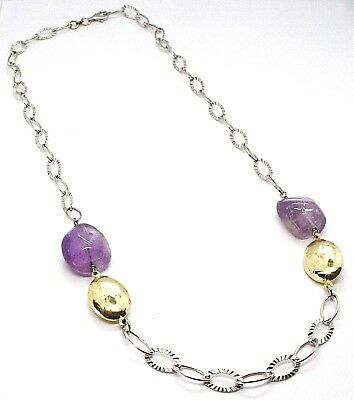 Necklace Silver 925, Amethyst Purple, Chain Ovals Worked, Length 65 CM