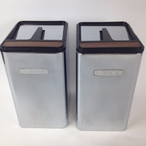 70s Vintage Metal Chrome Black Woodgrain Kitchen Canisters Masterware 2 ... - $13.07