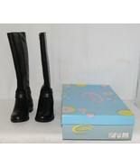 Soda HIROS Black Zip Up Riding Boot Gold Colored Accents Size Six - $38.00