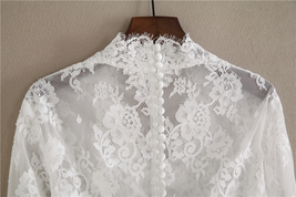 White V-Neck Long Sleeve Lace Tops Bridal Bridesmaid Shirt Rose Pattern Lace Top image 2