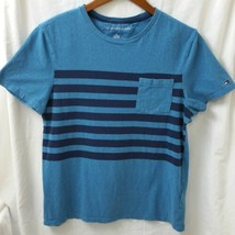 Mens Tommy Hilfiger S/P/CH Small Striped Pocket Short Sleeve Blue Flag T... - $16.65