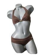 NWT MICHAEL KORS bikini S M two piece swimsuit walnut brown designer nam... - $58.19