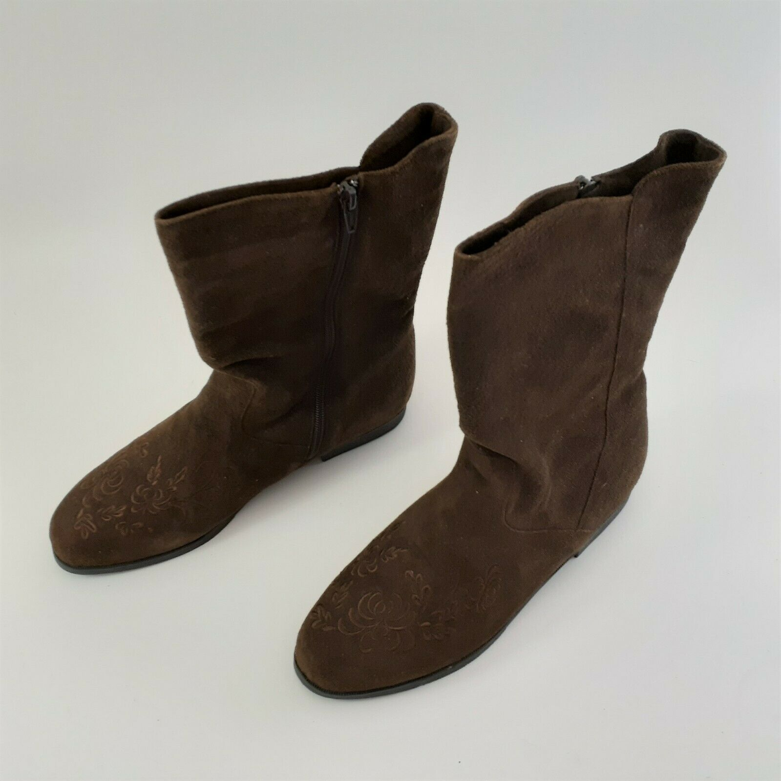 Jack Sprat Brown Suede Genuine Leather Floral Embroidered Sz 10 M Ankle Boots