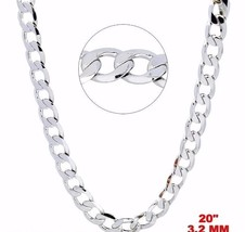 New Italian 14k White gold Rhodium on 925 Sterling Silver Curb Chain- 3.... - $17.72