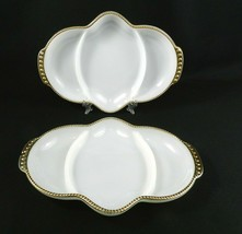 2 Vtg Fire King Milk Glass Divided Relish Trays 22K Gold Hobnail Trim 11... - $15.83