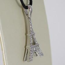 Pendentif en or Blanc 750 18K, la Tour Eiffel, Long 2.8 CM Avec Zirconia image 2
