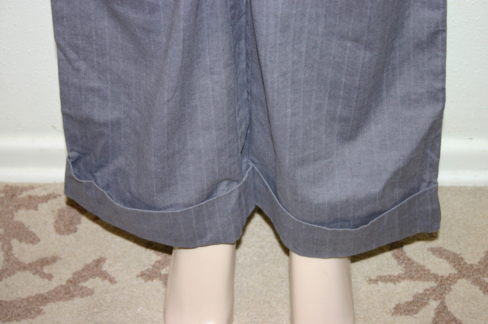 TALBOTS Size 6 Gray Striped Cuffed Stretch Cotton Career Dress Pants Trousers