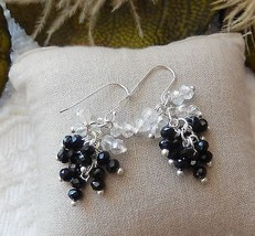 One of a Kind Sterling Silver Black & Clear Crystal Drop Dangle Earrings - $21.84