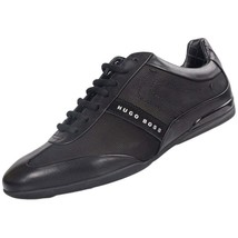 Hugo Boss Men's Premium Sport Leather Sneakers Shoes Space Select Black