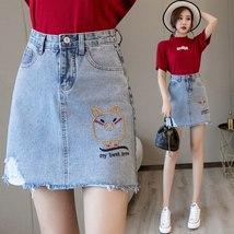 Mini Denim Skirt 2019 Summer Wild New Large Size High Waist Slim Fit A line Stud image 5