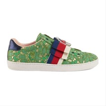 New Gucci Women's Green Flat Heel Mesh Buckle Leather Sneakers Casual - $460.00