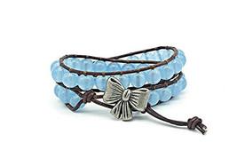 aquamarine gemstone genuine leather wrap bracelet with bow button  - $30.00