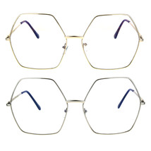 Womens Oversize Octagon Hippie Groovy Retro Clear Lens Eye Glasses - $12.95