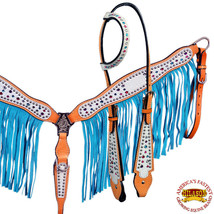 U--SET Hilason American Leather Horse Breastcollar Headstall Fringes Turquoise - $99.95