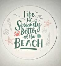 "Melamine Tidbit Appetizer Dessert Plates 6"" Set of 6 Beach House Shells ... - $14.79"