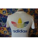 Vintage 80's Adidas Trefoil Rainbow Texas Instruments Marathon T Shirt M - $197.99