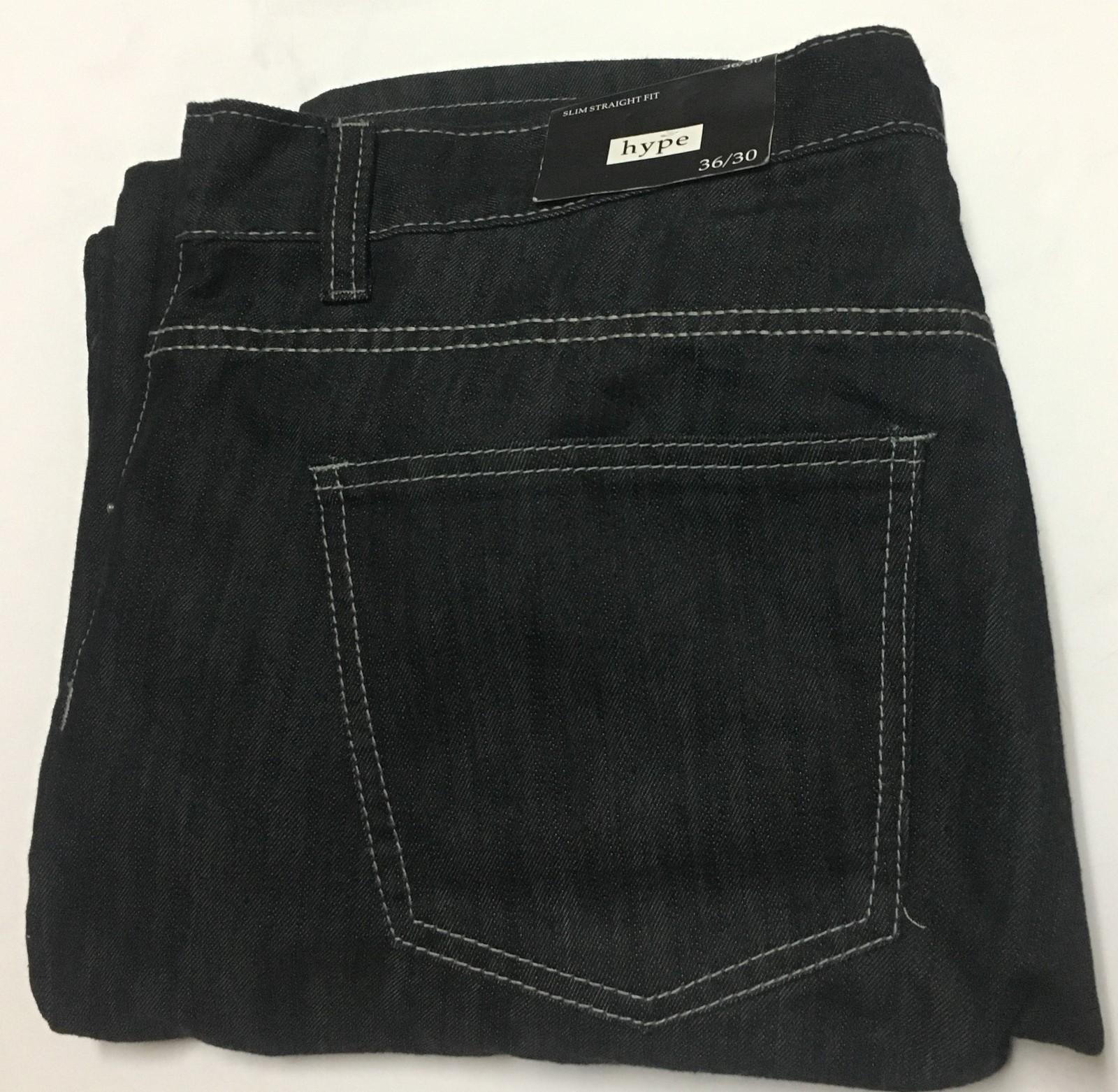 HYPE Men's Jeans Slim Straight Fit Sz 36/30 Black