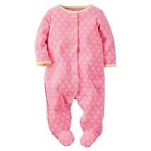 Carter's Baby Girls Long Sleeves Diamond Print Sleeper, 6 Months, 115G095P - $9.00