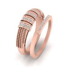 Unique Bridal Wedding Ring Set Matching Engagement Ring Set Solid 18k Rose Gold - $1,479.99