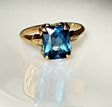 Ladies Vintage Ring 14K Gold Unique Blue Topaz Inscribed 12-25-42  Size 7 - $217.55