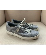 ECCO Soft 7 Gray Leather Perforated Sneakers Athletic Shoes US Mens 7 EU... - $32.40