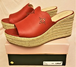 kate spade new york Sandals Sz-10.5 Ripe Cherry Leather Made in Brazil - $69.97