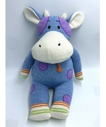 Midwest CBK Clover The Cow Plush Stuffed Sock Animal Blue Purple Polka Dot - $17.99