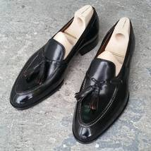 Men's Slippers Shoes, Black Loafer Leather Shoes, Wedding Tussle Shoes For Men - $144.99+