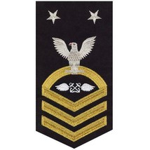 NAVY E9 MALE RATING BADGE: AVIATION BOATSWAIN(AB) - SEAWORTHY GOLD ON BLUE - $36.61
