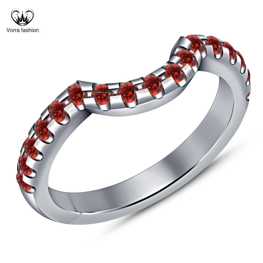 Pear Shape Red Garnet Bridal Engagement Ring Set 14k White Gold Over 925 Silver