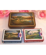 Vintage Two (2) Sealed Decks Playing Cards Hoyle In Tin Country Life Ang... - $21.99