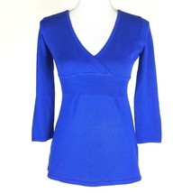 Love By Design Women Size Small Shirt Blue 3/4 Sleeve V-Neck EUC Empire ... - $5.89
