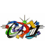 Abstract wall decor, Wood Metal Wall Sculpture, Colorful Unique wall art... - $430.65