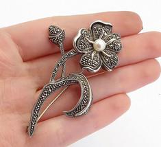 JUDITH JACK 925 Silver - Vintage Pearl & Marcasite Flower Brooch Pin - B... - $79.94